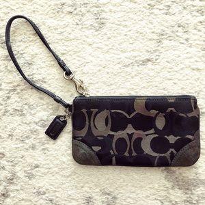 Black & gray canvas Coach wristlet purse